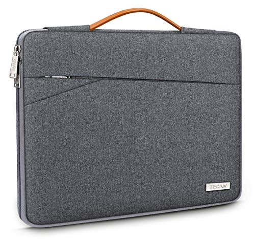 TECOOL 13-Inch Laptop Sleeve Protective Case Cover Carry Bag with Handle and Front Pockets for 2018-2020 MacBook Air/Pro 13, Dell XPS 13, HP Envy 13, 12.9 iPad Pro, 12.3 Surface Pro 7/6/5, Dark grey