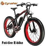 Cyrusher® Extrbici XF660 48V 500 Watt Noir Rouge Mans Vélo électrique Vélo de Montagne 7 Vitesses Vélo électrique Freins à Disque