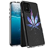 for Samsung Galaxy A51 Case,Case for Samsung A51,BEROSET Dual Layer Hard Acrylic Back + Soft TPU Case Shockproof High Impact Protective Clear Phone Case for Galaxy A51 - Weed Leaf On Galaxy