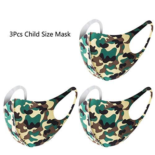 [ Abdeckung ] Gesicht Oder Mund, 3 Stk Kindergröße Tarnfarbe Atmungsaktiv Schwamm Waschbar Wiederverwendbar Für Kinder