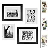 Quubik Design Juego de Marcos de Fotos en Blanco y Negro Estilo Nueva York - Juego de 4 Marcos de...