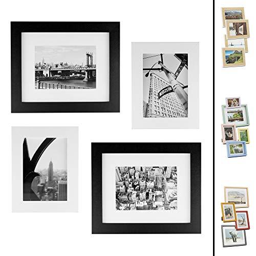 Quubik Design Juego de Marcos de Fotos en Blanco y Negro Estilo Nueva York - Juego de 4 Marcos de Fotos tamaños 13x18cm y 20x25cm Disponibles