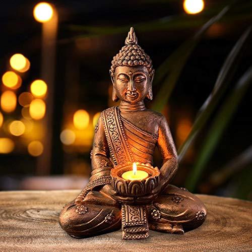Buddha Statue mit Teelichthalter, 31cm Teelichthalter Buddha Figur Sitzend Antik Bronze Harz Thai Buddha Teelicht Kerzenhalter Meditations Dekoration für Haus Wohnkultur Garten-21cmx31cm