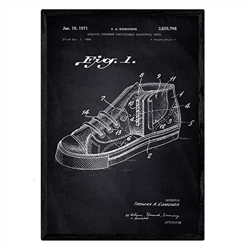 Nacnic Plakat mit Basketball-Sneaker Patent 2. Film mit altem Design-Patent in der Größe A3 mit schwarzem Hintergrund