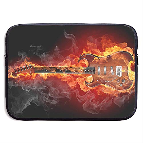 QUEMIN Mode Computer Liner Hülle Fall Gitarre Flamme Feuermuster Tragbare Laptop Schutzhülle Abdeckung Handtasche für MacBook Pro/MacBook Air/Asus/Dell , 13inch