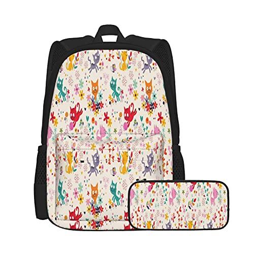 Juego de mochila con forma de bola de mariposa de gato, juego de 2 piezas para adolescentes y niñas + estuche 2 en 1 combo