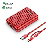 Zendure A3PD Power Bank 10000mah, (Durable) (18W PD & QC 3.0) USB-C External Battery Charger with Dual USB Output (3A), Compact Portable Charger - Red
