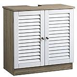 Deuba Mueble bajo Lavabo marrón y Blanco 2 Puertas con Listones Armario de baño Almacenamiento Toallas Accesorios Madera