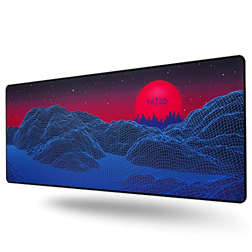 Tilted Nation Extended Gaming Mouse Pad Large - Mice and Keyboard Mat with Non-Slip Game Mousepad Base - Easy to Clean, Water Resistant Desk Pads for Mac PC Gamers (Synth Galaxy Style)