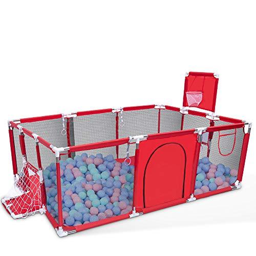 Orzbow Parque Infantil Bebés, Plegable Valla de Juegos para Niños,Corralito para bebés - Valla de Seguridad para Bebés con Marco de la Bola (Rojo-Rectángulo)