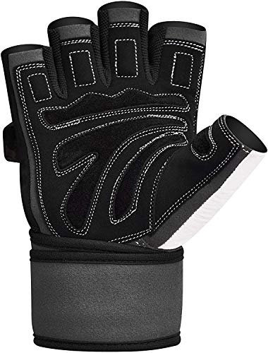 Authentische RDX Kuh haut leder Gewicht heben Gym Handschuhe Körper Fitness, Gr.M - 5