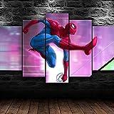 WKXZZS 5 Cuadros en Lienzo Spider Super Hero Movie Impresión HD,Diseño de la Naturaleza,con Marco Creativo 200x100cm