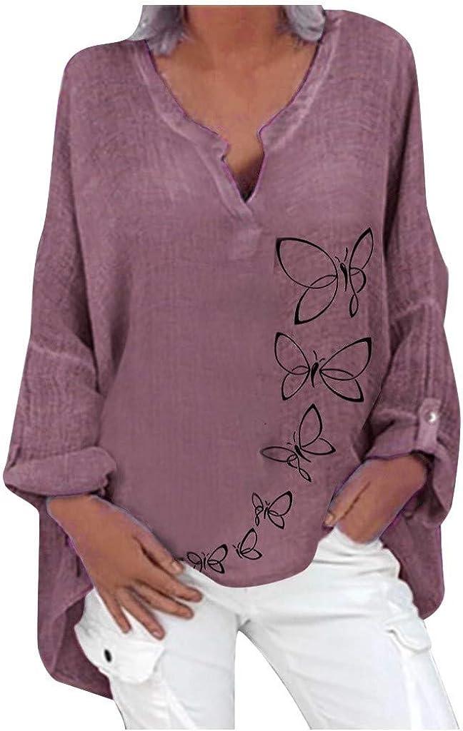 Women's Cotton Linen Shirt Plus Size Tops Long Sleeve Sweatshirts Floral Print Loose Blouse Pullover
