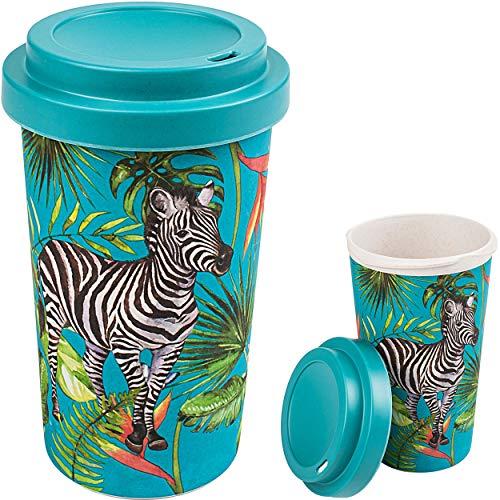 alles-meine.de GmbH Coffee to Go Becher / Trinkbecher / Kaffeebecher - Bambus - Dschungel Tiere & Safari - Zebra - BPA frei - mit Deckel - 420 ml - dicht verschließbar - Mehrweg ..