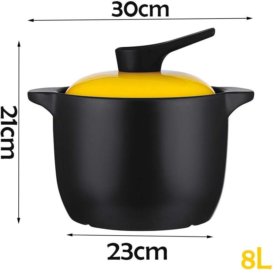 WZF Casserole Casserole en céramique avec Couvercle Pot à Soupe Pot à ragoût de Fruits de mer Rond 23 cm Grande capacité 6 litres Pot de Fruits de mer-2 3