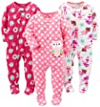 Simple Joys by Carter's Baby Girls' 3-Pack Flame Resistant Fleece Footed Pajamas, Superhero/Donut/Owl, 12 Months