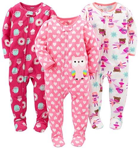 Simple Joys by Carter's Mädchen 3-pack Loose Fit Flame Resistant Fleece Footed Pajamas Schlafstrampler, Superhelden/Donut/Eule, 12 Monaten