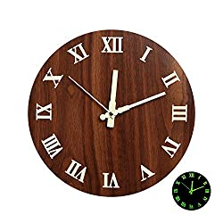 12 Night Light Function Wooden Round Wall Clock Vintage Rustic Country Style for Kitchen Bedroom Office Home Silent & Non-Ticking Large Numbers Battery Operated Clocks
