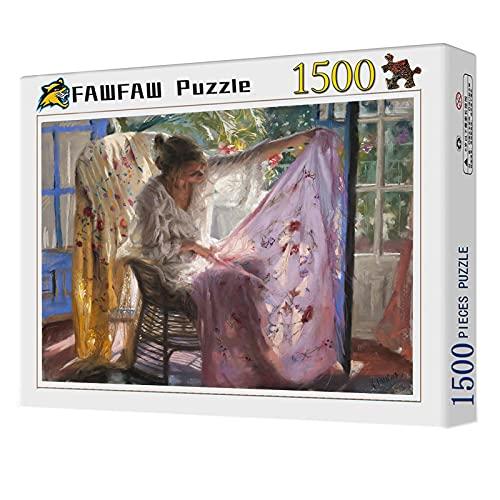 FAWFAW Puzzles 1500 Piezas, Chica Aprecia Tela Y Mantón por La Tarde 1500/1000/500/300 Piezas