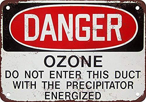 Danger Ozone Cartel de chapa retro Cartel de metal Placa de la vendimia Cartel de chapa de metal Decoración de pared para el hogar Cocina Garaje Bar Pub Regalo 30 X 20 CM