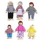 NUOLUX Puppenhaus Puppen,Holzpuppe Spielzeug Familie Puppen,6pcs (zufällige Farbe)