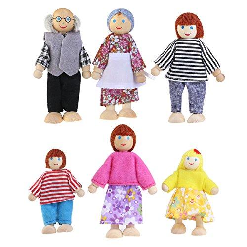 YeahiBaby Holzpuppe Spielzeug, Cartoon Familie Puppen für Kinder Spielen Holz Puppenhaus 6 stücke (Zufällige Farbe)