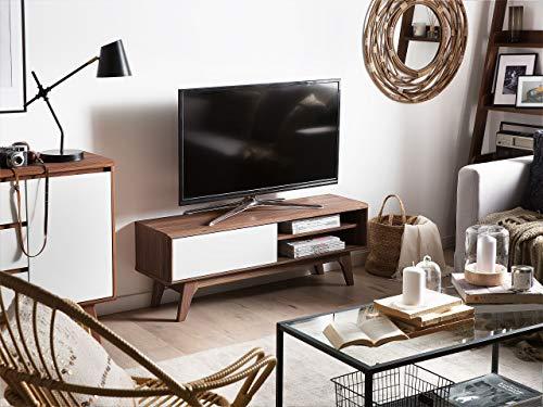 Beliani Meuble TV - Meuble de Rangement - Blanc/Noyer Buffalo
