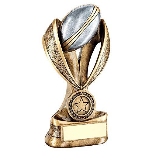 Lapal Dimension Trofeo de Rugby BRZ/Pew/Gold con diseño de Bola y Bota en Medalla/Cinta elevadora (Centro de 1 Pulgada) – 6 Pulgadas