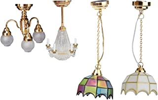 Fenteer 1/12 Scale Light Miniature Ceiling Light Chandelier Doll House LED Lamp for Dollhouse Decoration Toys 4 Pieces