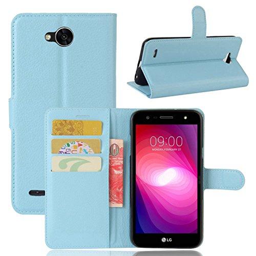 pinlu® PU Leder Hülle Schutzhülle Für LG X Power2 Prämie Geschäfts Art Haut Textur Flip Etui Brieftasche Mit Stand Function Innenschlitzen Design Cover Blau
