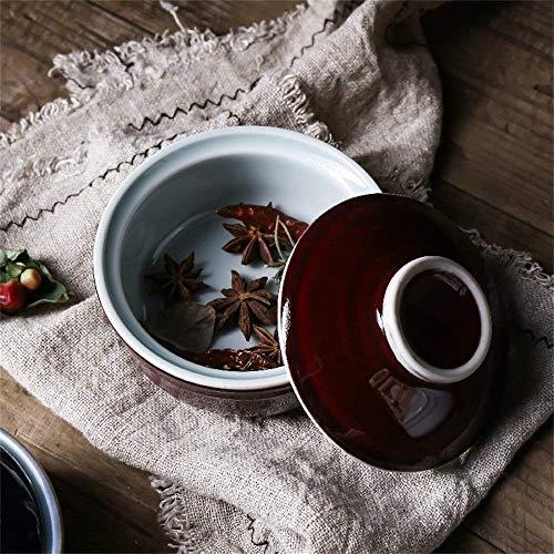 ZLININ Tureen - Cuenco para horno de arroz retro con tapa para horno y microondas