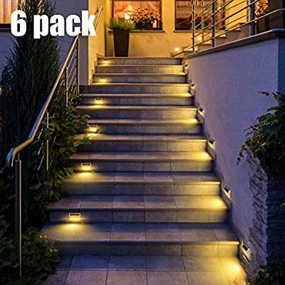 DBF 30 LED Solar Step Lights Outdoor Waterproof Solar Stair Lights Stainless Steel Solar Powered Deck Lights Auto On/Off for Porch Deck Steps Patio Stairs (Warm White 6Pack)