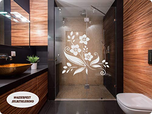 rs-interhandel® Aufkleber Folie Tattoo Glasdekorfolie Bad Dusche Duschwand Badezimmer Glasdekor GD40 Ornament Blume
