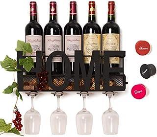 SODUKU Wall Mounted Metal Wine Rack 4 Long Stem Glass...