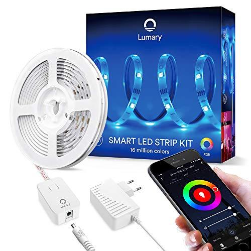 Smart LED Streifen 5M Alexa, Lumary WiFi LED Strip Lichtband,Heller 5050 RGB Musik LED Leiste Band Kompatibel mit Echo,Google Home, Dimmbar 16 Millionen Farben Lichterkette für Deko Party Weihnachten