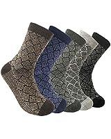 Zrilile 5 Pairs Mens Thick Wool Cotton Blend Warm Thermal Socks Super Soft Comfortable,Size:UK 6-11 EUR 39-43,White,Black,Blue,Grey,Brown