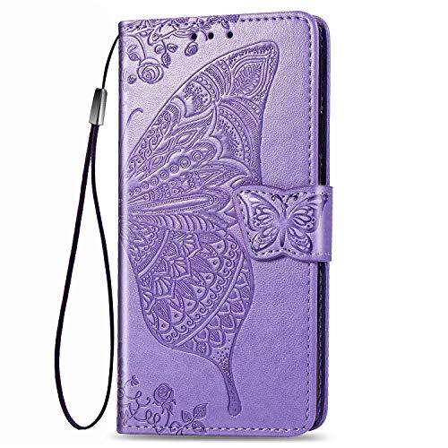 Dedux Brieftasche Hülle für Samsung Galaxy S10 Lite, Geprägt Schöne Schmetterlinge & Rose Blume Lederbezug, Premium Leder Flip Schutzhülle mit Standfunktion & Kartenfächer, Lila