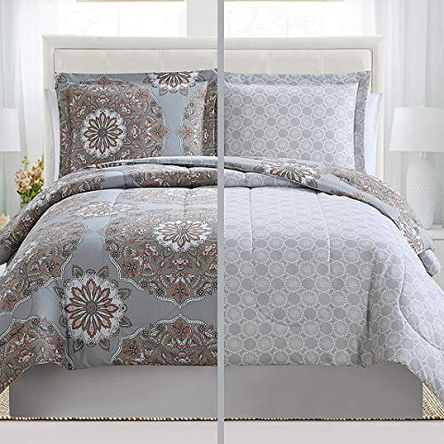 Lux Decor Collections Duvet Cover Set, 1800 Count Egyptian Quality King Soft Premium Bedding Collection, 3 Piece Soft, 2 Pillow Shams (Marlo Grey-Brown,King/California King)