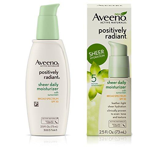 Aveeno Positively Radiant Sheer Moisturizer Spf#30 2.5 Ounce (73ml) (6 Pack)