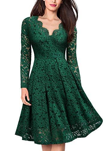 MIUSOL Damen Vintage 1950er V-Ausschnitt Cocktailkleid Retro Spitzen Schwingen Pinup Rockabilly Kleid Grün XS