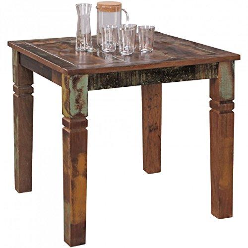 WOHNLING Esszimmertisch KALKUTTA 80 x 80 x 76 cm Mango Shabby Chic Massiv-Holz , Design Landhaus Esstisch Bootsholz , Tisch für Esszimmer rechteckig , Küchentisch 4 Personen