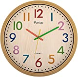 Foxtop Silent Kids Wall Clocks 12 Inch Non-Ticking Battery Operated Colorful Decorative Clock for Children Nursery Room Bedroom School Classroom - Easy to Read (Colorful Numbers, 12 inch)