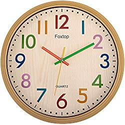 Foxtop Silent Kids Wall Clock 12 Inch Non-Ticking Battery Operated Colorful Decorative Clock for Children Nursery Room Bedroom School Classroom - Easy to Read (Colorful Numbers, 12 inch)