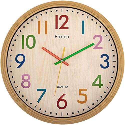 Foxtop Silent Kids Wall Clock 12 Inch Non-Ticking Battery Operated Colorful Decorative Clock for...