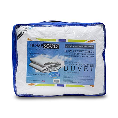 HOMESCAPES Ultrasoft Super Microfibre All Seasons Duvet 9 Tog & 4.5 Tog 3 in 1 Duvet Hotel Quality Hypoallergenic Anti Dust Mite Duvet Washable At Home, Single Size