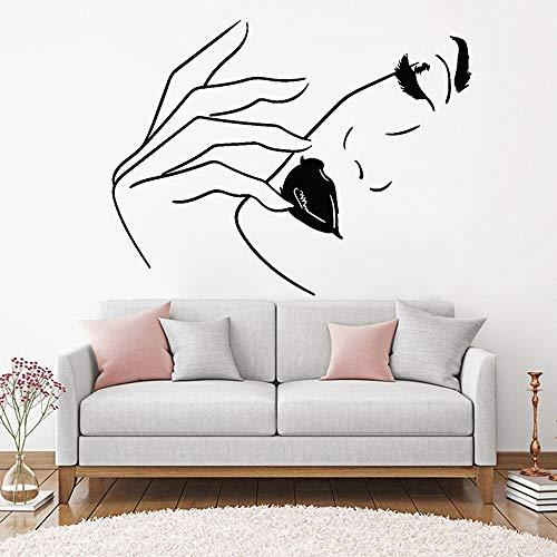 wZUN Schönheitssalon Wandaufkleber Frau Gesicht Lippen Model Vinyl Wandaufkleber Schönheitssalon Schlafzimmer Dekoration Tapete 42X33cm