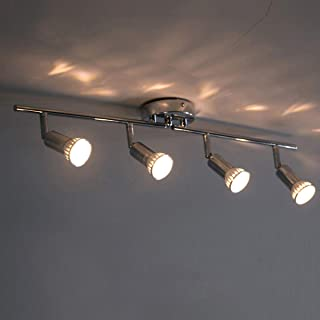 LED Track Lighting Modern Light Fixture Wall Accent Spotlight Adjustable Decorative Lighting GU10 4 Head Ceiling lamp for Indoor,Kitchen,Living Room,Art Picture (No Bulbs)