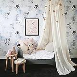 Ommda Moskitonetz Bett Kinder und Baby Betthimmel Moskitonetz Baumwolle süß und romantisch für Kinderzimmer und Schlafzimmer Beige 240x50cm (HöhexDurchmesser) - 6