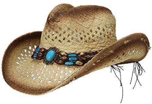 EOZY Sombrero de Vaquero de Paja con Turquesa Artificial para Mujer Marrón