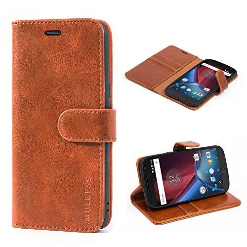 Mulbess Handyhülle für Motorola Moto G4 Plus Hülle Leder, Motorola Moto G4 Plus Handy Hüllen, Vintage Flip Handytasche Schutzhülle für Motorola Moto G4 / G4 Plus Case, Braun